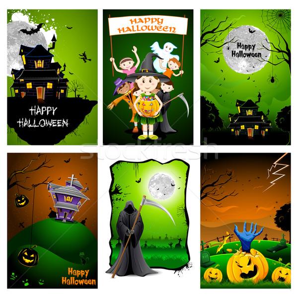 Halloween poster ilustrare set celebrare fericit Imagine de stoc © vectomart