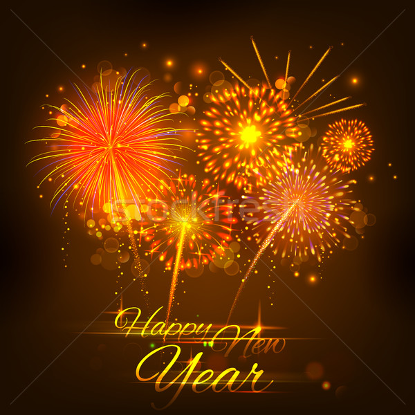 Happy New Year celebration abstract Starburst Seasons greetings background with firework Stock photo © vectomart