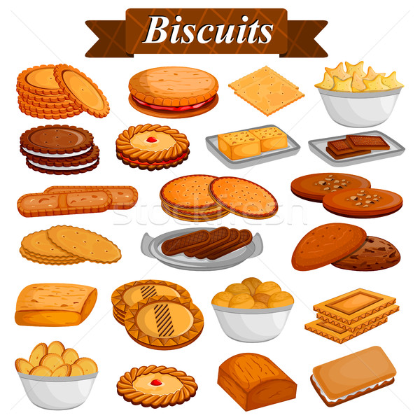 Set of yummy assorted Cookies and Biscuit Food dessert Stock photo © vectomart