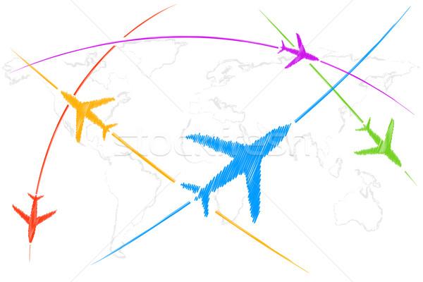 Powietrza trasy ilustracja samolot pływające mapie świata Zdjęcia stock © vectomart