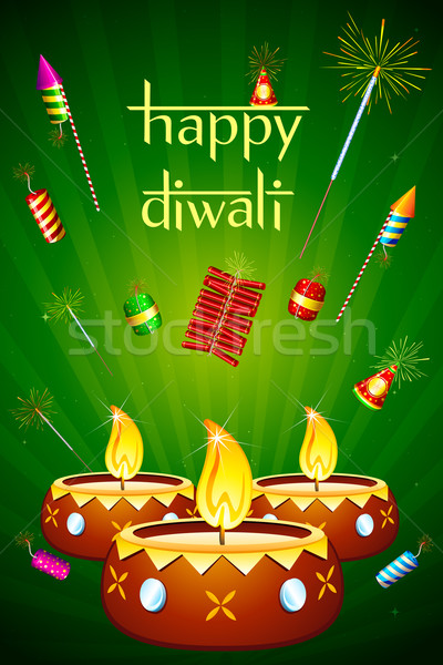 Diwali Diya with Fire Cracker Stock photo © vectomart