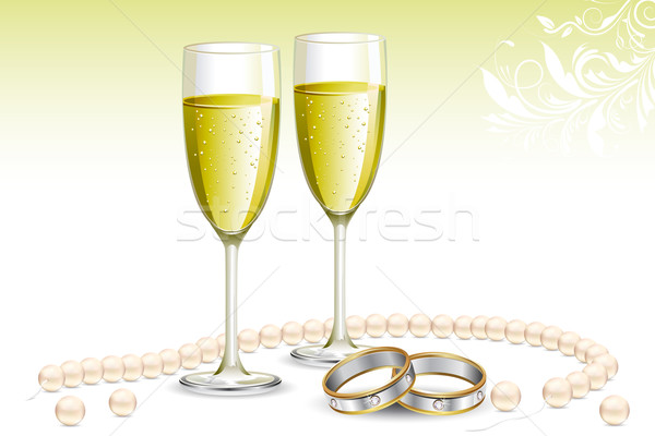 Trouwring champagne glas illustratie paar bruiloft Stockfoto © vectomart