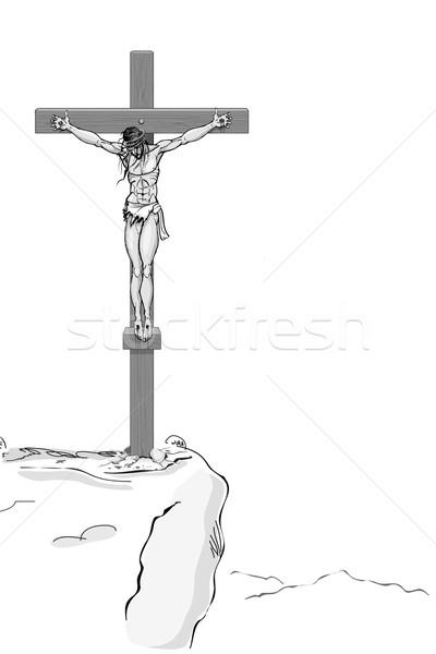 Иисус Христа крест иллюстрация белый свет Сток-фото © vectomart