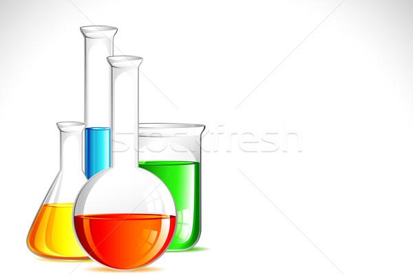 Laboratórium apparátus illusztráció színes megoldás víz Stock fotó © vectomart