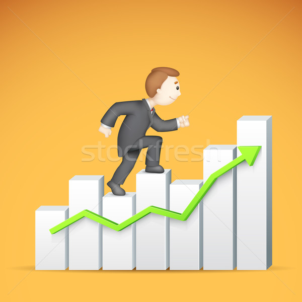 Business man climbing Bargraph Stock photo © vectomart
