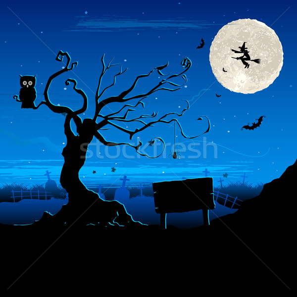 Halloween nacht illustratie pompoen scary Stockfoto © vectomart
