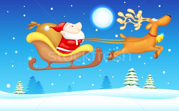 Santa in Sledge Stock photo © vectomart