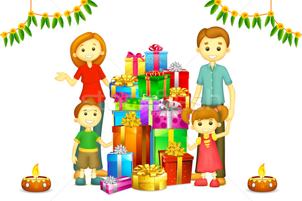 Family with Diwali Gift Stock photo © vectomart