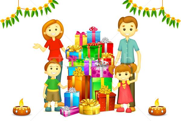 家族 ディワリ ギフト 実例 3D 幸せな家族 ストックフォト © vectomart