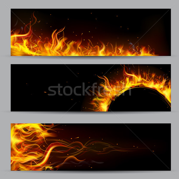 Brand vlam sjabloon illustratie ingesteld banner Stockfoto © vectomart