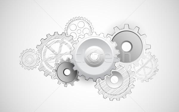 Cogwheel on Sketvhy Background Stock photo © vectomart