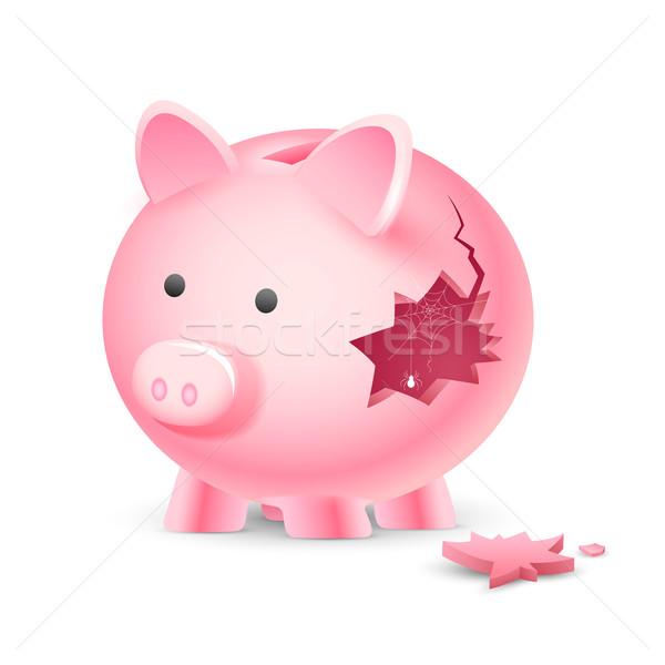 Finansal kriz örnek kırık kumbara örümcek ağı web Stok fotoğraf © vectomart
