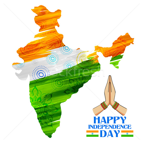 Vízfesték festmény indiai térkép illusztráció boldog Stock fotó © vectomart
