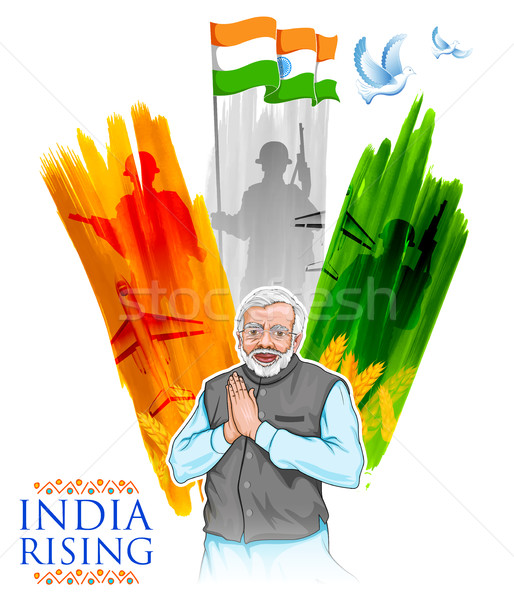 India tricolor flag background with proud Indian people Stock photo © vectomart