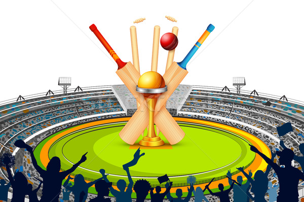 Stadium of Cricket with Bat, wicket and Trophy Stock photo © vectomart