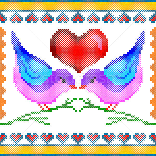 Cross Stitch Embroidery love bird design for seamless pattern texture Stock photo © vectomart