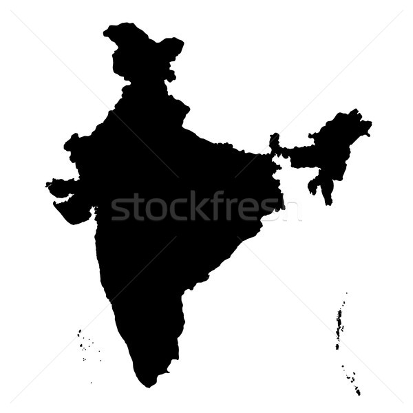 Detailed flat black map of India, Asia Stock photo © vectomart