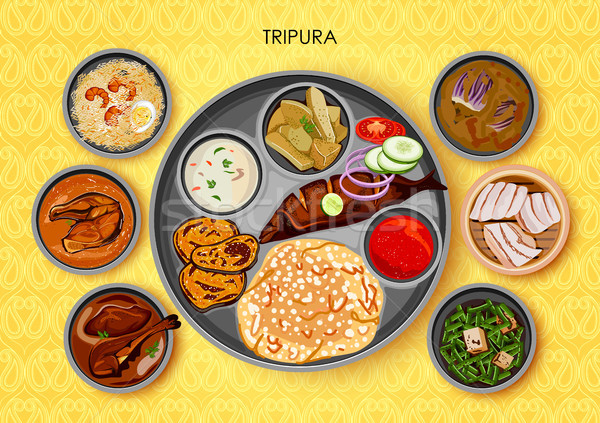 Traditional cuisine and food meal thali of Tripura India Stock photo © vectomart