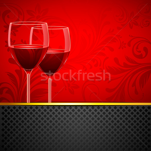 Stock photo: Wine Glass on Floral Background