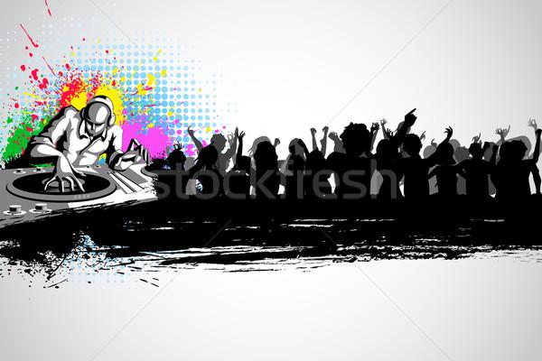 Disco jockey musical illustration fête foule Photo stock © vectomart