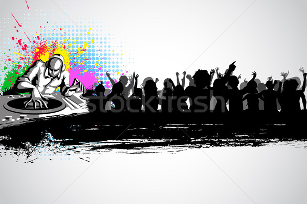Disco jockey musical illustratie partij menigte Stockfoto © vectomart