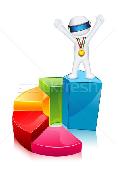 3d Man on Bar Graph Stock photo © vectomart