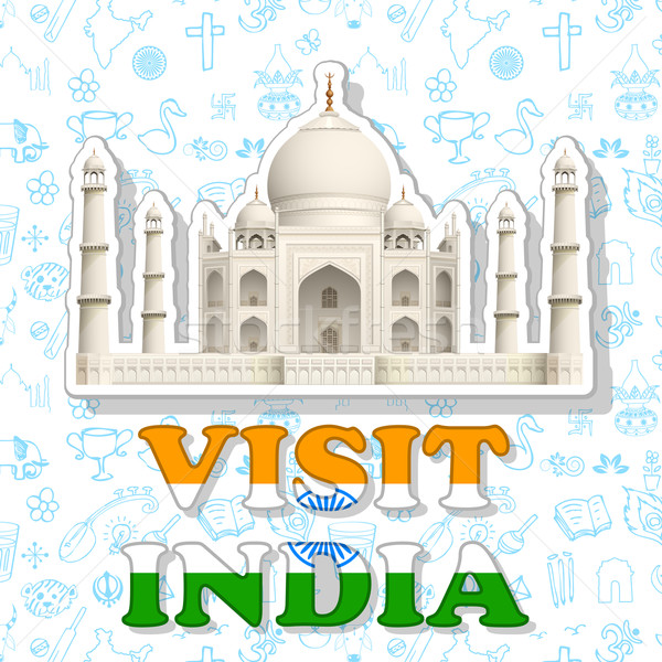 Visit India Sticker Stock photo © vectomart