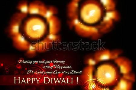 Golden lotus shaped diya on abstract Diwali background Stock photo © vectomart