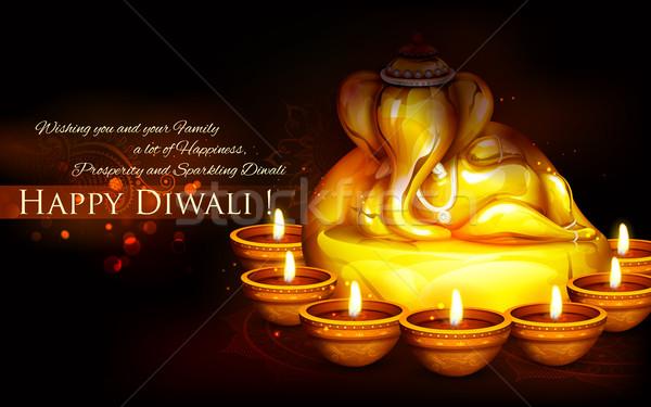 Ganesha with diya on  happy Diwali Holiday background for light festival of India Stock photo © vectomart