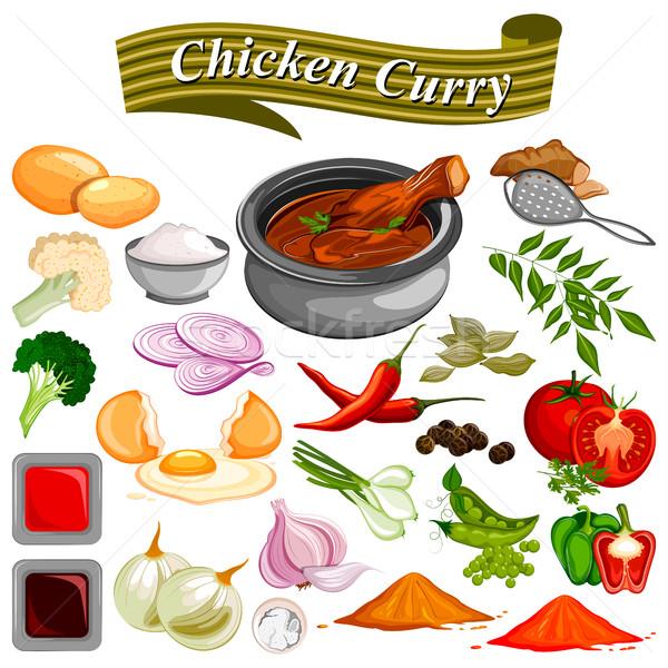 Hozzávaló indiai csirkés curry recept zöldség fűszer Stock fotó © vectomart