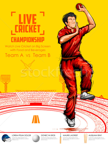 Melon bowling cricket championnat sport illustration Photo stock © vectomart