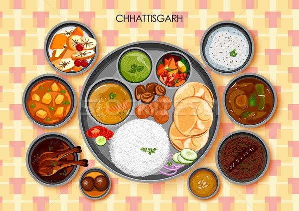 Traditional Chhattisgarhi cuisine and food meal thali of Chhattisgarh India Stock photo © vectomart
