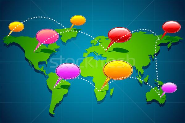 Comunicazione globale illustrazione chattare bolla mappa del mondo uomo Foto d'archivio © vectomart