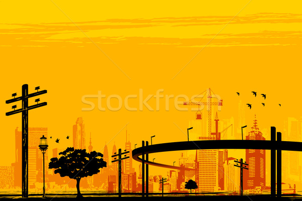 Kentsel altyapı örnek gökdelen köprü gökyüzü Stok fotoğraf © vectomart
