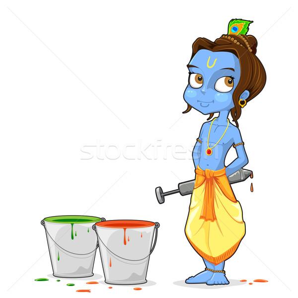 Krisna játszik illusztráció színek gyermek szín Stock fotó © vectomart