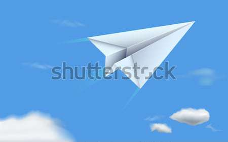Papír repülőgép égbolt illusztráció repülés modell Stock fotó © vectomart