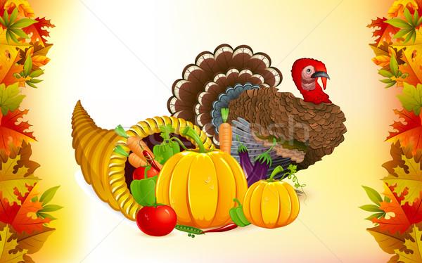 Acción de gracias cuerno de la abundancia Turquía ilustración frutas vegetales Foto stock © vectomart