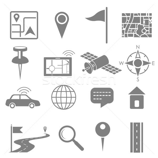 Navigation icon set for GPS application Stock photo © vectomart