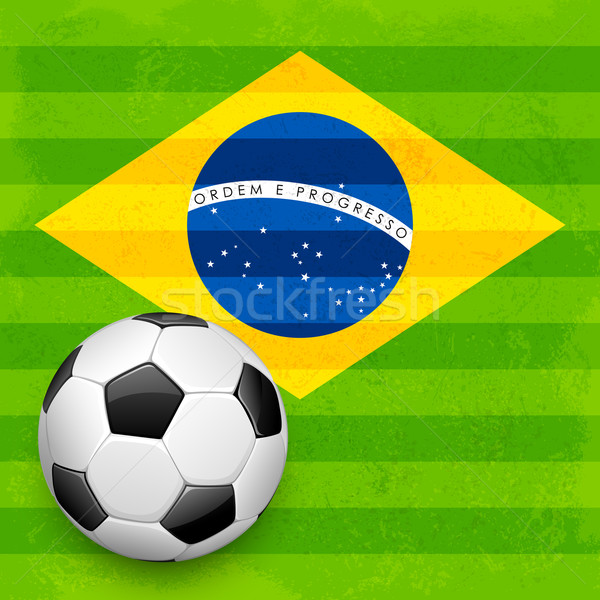 Soccer ball with Brazilian Flag Stock photo © vectomart