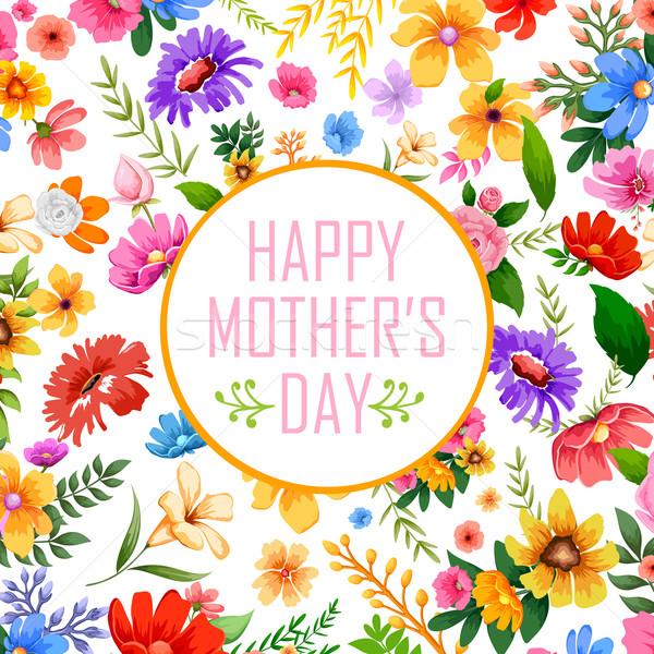 Feliz dia das mães ilustração colorido cartão flor mãe Foto stock © vectomart