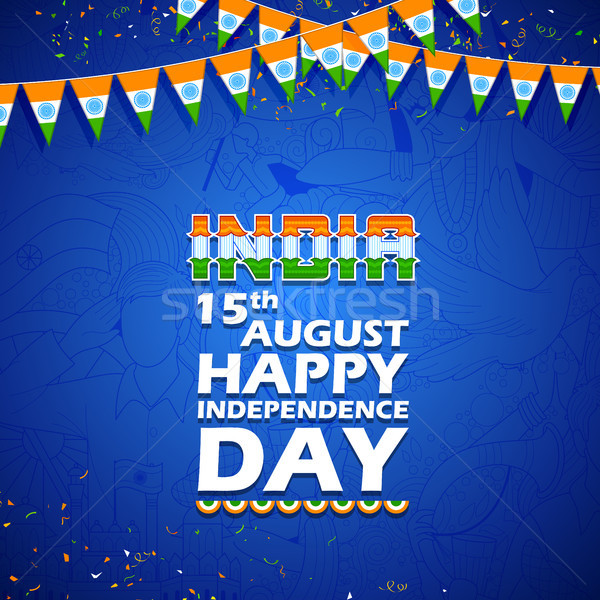 Tricolor India banner for Happy Independence Day of Indian Stock photo © vectomart