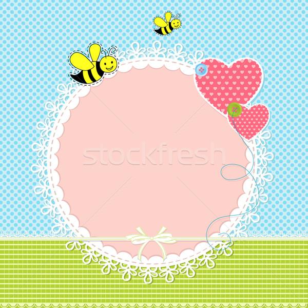 Bebê chegada cartão ilustração cópia espaço aniversário Foto stock © vectomart