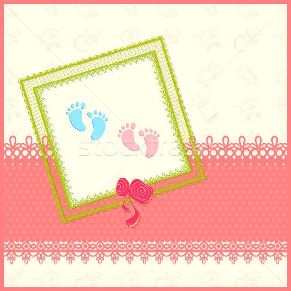 Baba érkezés kártya illusztráció copy space szív Stock fotó © vectomart