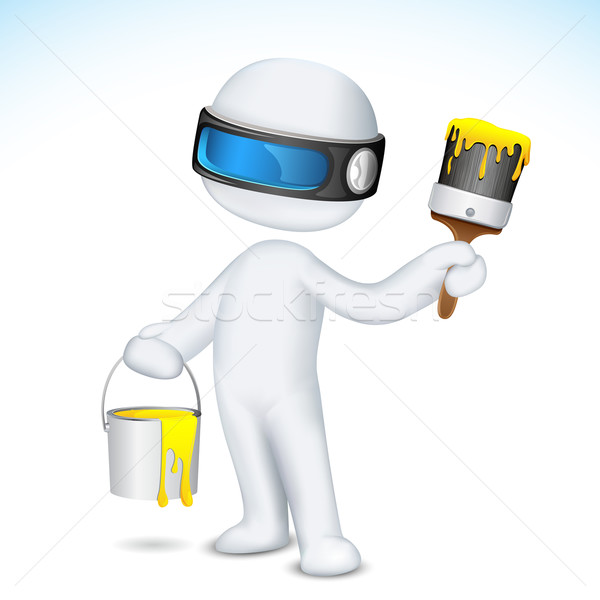 Uomo 3d vernice illustrazione scalabile vettore secchio di vernice Foto d'archivio © vectomart