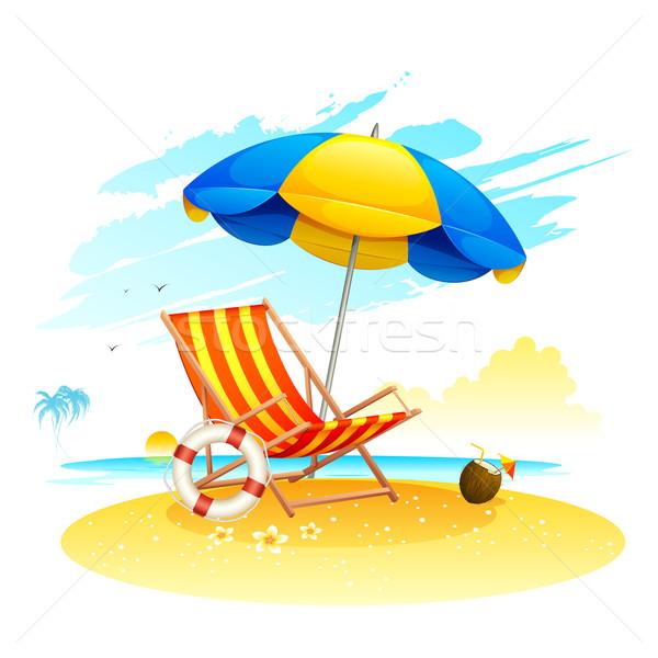 海 ビーチ 実例 庭園 傘 ツリー ストックフォト © vectomart