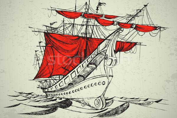 Bateau illustration vintage rouge drap eau Photo stock © vectomart