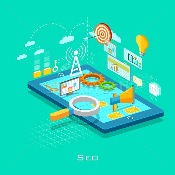 örnek seo Internet teknoloji hareketli Stok fotoğraf © vectomart