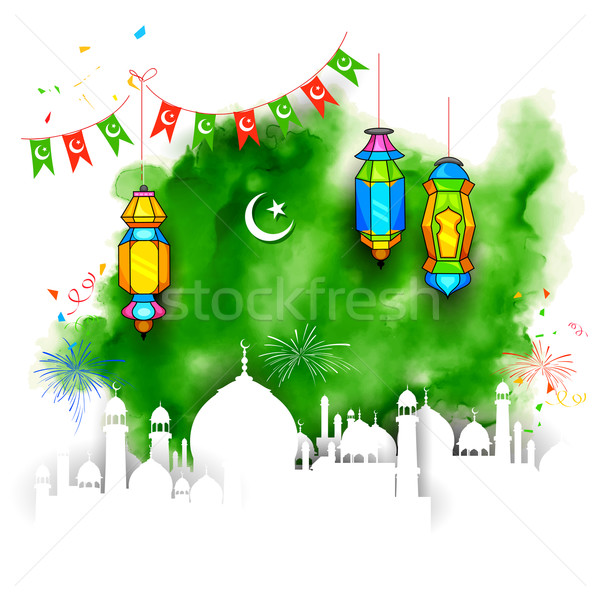 Ramadán illusztráció koszos lámpa tapéta Isten Stock fotó © vectomart