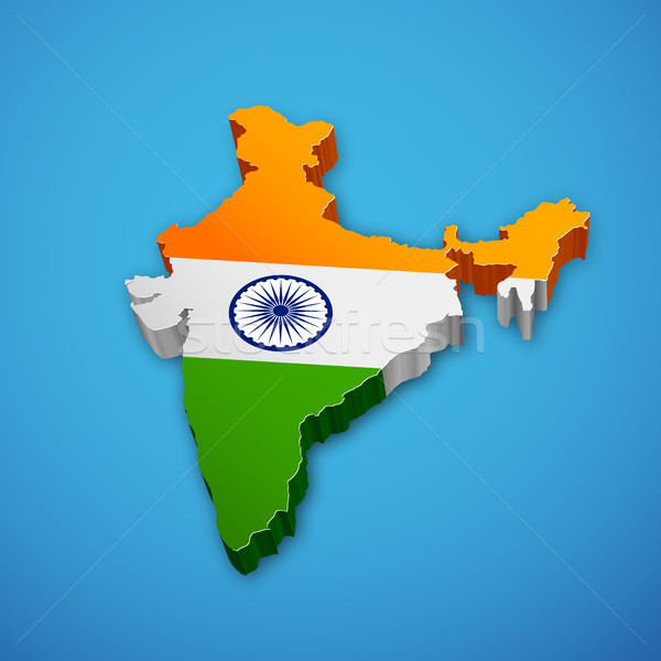 Tricolor Indian Flag map background for Republic  and Independence Day of India Stock photo © vectomart