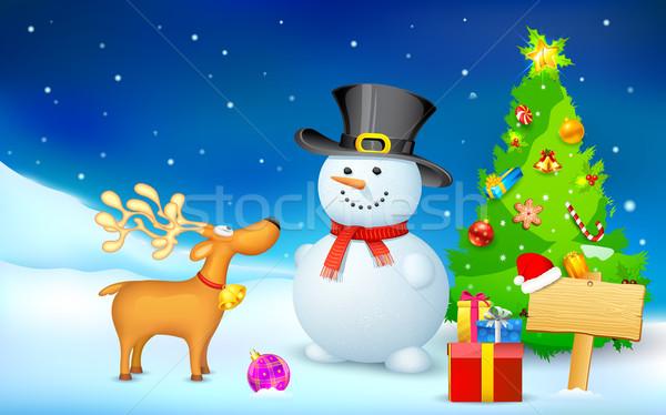 Muñeco de nieve reno Navidad noche ilustración árbol Foto stock © vectomart